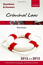 Q and A Revision Guide Criminal Law and by Mike Molan