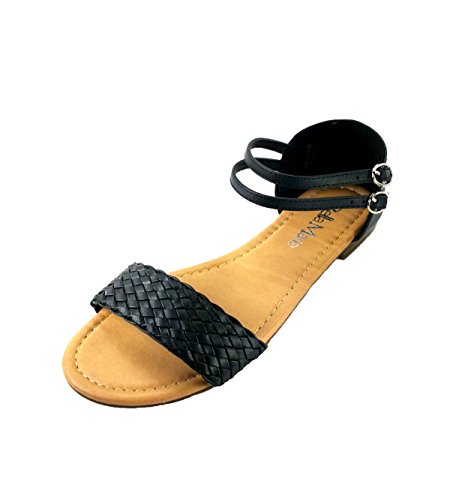 Anna Women's Braid Upper Strappy Flat Sandals