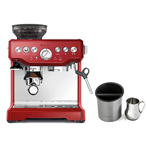 Breville Barista Express Cranberry Red Espresso Machine with Knock Box and 19 Ounce Milk Steamer Jug (Breville You Brew Coffee Maker compare prices)