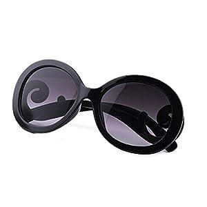 Top Plaza Women Sunglasses Retro Style, Butterfly Clouds Arms Semi-Transparent Round Vintage Sunglasses,Gentle Sunglasses, 4 Colors (Black Frame + Grey Gradient Lens)
