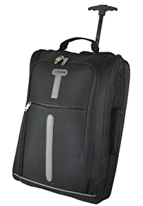 5 Cities 21 Cabin Size Black Ripstop Material Wheeled Holdall Trolley Bag Only 165kg And 42l Capacity