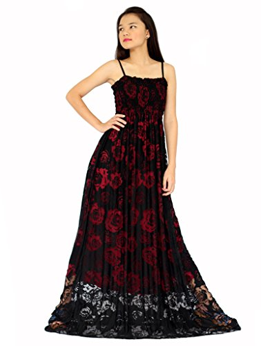 MayriDress Women's Black Lace Plus Size Extra Long Maxi Dress 2X