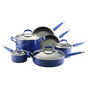 Kitchenaid hard base porcelain aluminum nonstick 10 piece set blue pasta pot sets - Kitchenaid aluminum nonstick piece cookware set ...