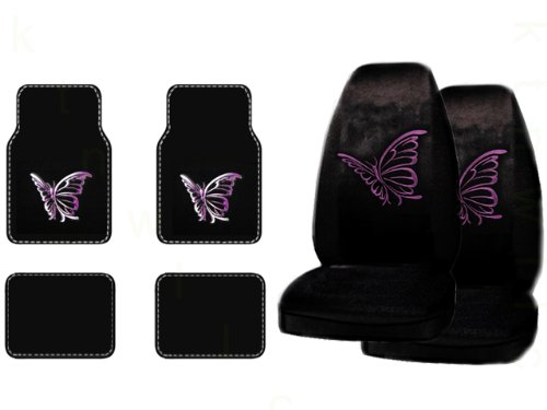 A Set of 4 Universal Fit Plush Carpet Floor Mats and A Set of 2 Universal Fit Seat Covers - Purple Butterfly (Purple Fairy Seat Covers compare prices)