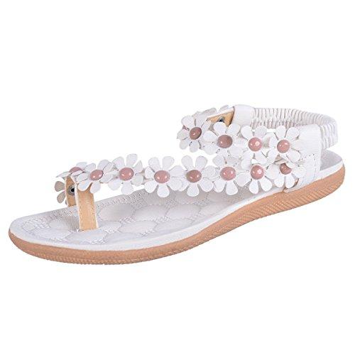 Minetom Donne scarpe casual Infradito Piatte con Fiori Sandali Elastici Boemi Dolci d'estate Accessorio Vacanza ( Bianco 1 EU 37 )