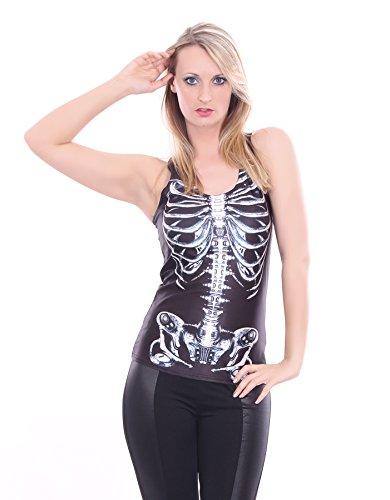 Träger Top Shirt mit Skelett Foto Print in Schwarz, One-Size