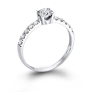 Diamond Engagement Ring 1/2 ct, J Color, VS1 Clarity, Certified, Round Cut, in 14K Gold / White