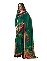 Green Color Georgette Printed Saree With Blouse 7032