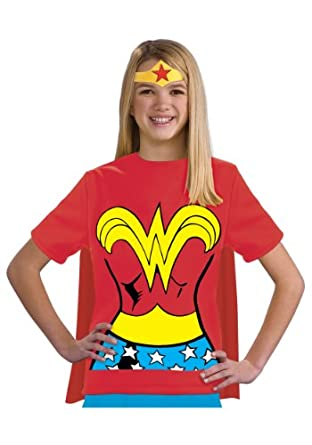 Amazon.com: Teen Size Wonder Woman Costume Shirt with Cape and Crown (Teen Small): Clothing