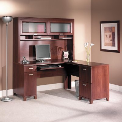Buy Low Price Comfortable Bush Tuxedo Cherry Computer Desk with Optional Hutch – BHI359 (B002UPQMF0)