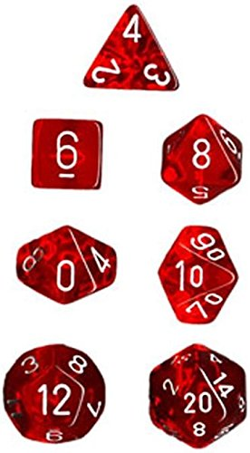 Chessex Manufacturing 23004 7-Die Polyhedral Set Red With White Translucent - 1