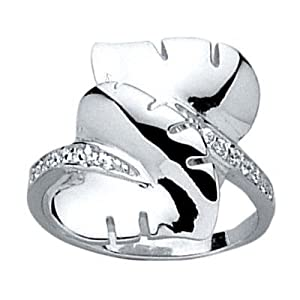 So Chic Jewels - Sterling Silver Clear Cubic Zirconia 17 mm Leaf Heart Band Ring - Size Q