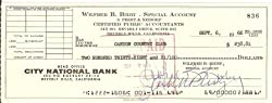 Bill Bixby Signed Original Check