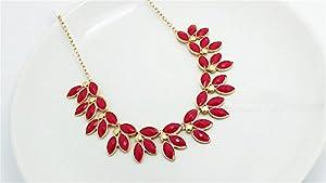HITOP Persönlichkeit Übertrieben Schlüsselbein Halskette kurzen Absatz koreanische Version Blättern Halskette (rot)