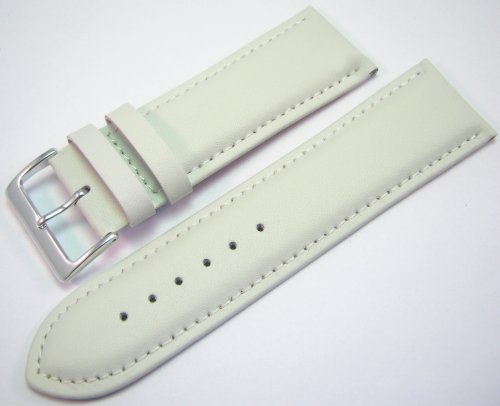 White Padded Leather Watch Strap Band With A Stitched Edging And Nubuck Lining 26mm
