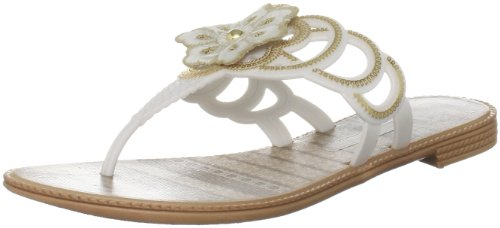 Grendha Women's Hippie White Open Toe Flats 80699