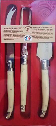 Jean Dubost Laguiole 3-Piece Cheese Knife Set With White Handles