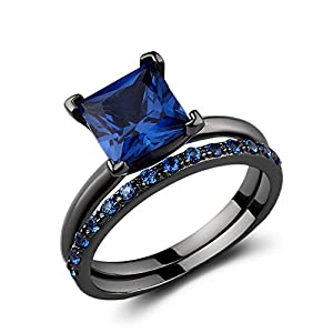 2.50 Ct Black Sterling Silver Round & Princess-Cut Created Blue Sapphire Bridal Engagement Ring Set Size 9