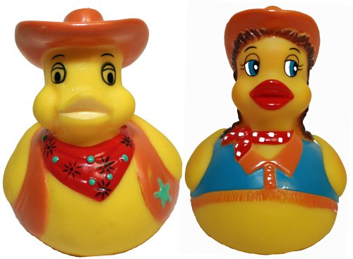 Rubber Ducks Cowgirl N Cowboy Set of 2, Waddlers Brand Rubber Ducks That Float Upright, Toy Bathtub Western Themed, All Departments Birthday Party Deluxe Gift Set