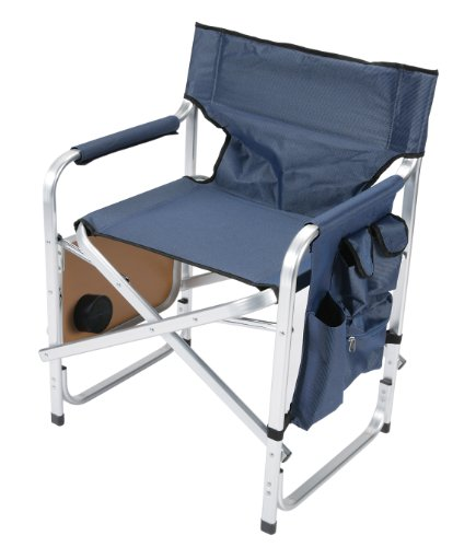 Faulkner Aluminum Director Chair with Folding Tray and Cup Holder Blue