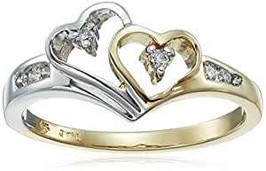 14k Two-Tone Diamond Heart Ring (1/10 cttw,), Size 5