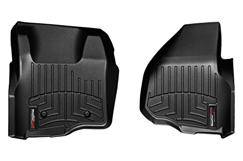 2012-2014 Ford F250/F350/F450/F550 Super Duty (Depressed Forward-Left Corner / Automatic Transmission) Front Set - WeatherTech Custom Floor Mats Liners - Black (443051 Weathertech compare prices)
