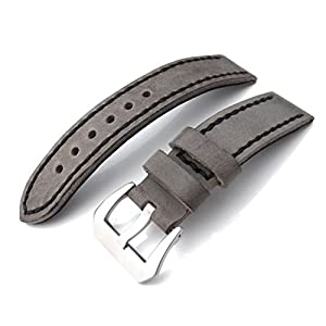 21mm Soft Italian Leather Donkey Grey Watch Strap with Black Stitches, Brushed Buckle