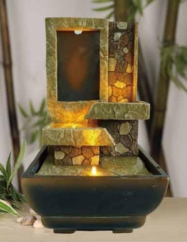 OK LIGHITNG FT-1209-1L 9 in. H Tabletop Stoney Led Fountain
