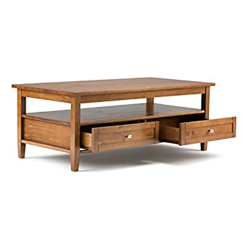 Simpli Home Warm Shaker Coffee Table, Honey Brown