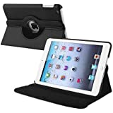 BLACK 360 ROTATING FLIP LEATHER CASE COVER FOR THE NEW IPAD MINI / MINI-2 / MINI-3 WITH SCREEN PROTECTOR AND STYLUS WITH FREE UK DELIVERY