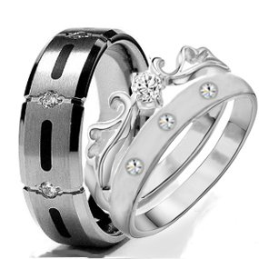 His & Hers 3 Pieces, Titanium And Stainless Steel Engagement Wedding Ring Set, Available Sizes Men'S 7,8,9,10,11,12; Women'S Set: 5,6,7,8,9 (Size Men'S 9 Women'S 9)