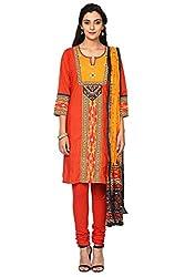 Trishaa by Pantaloons Women's Straight Churidar Kurta Dupatta ( 205000005655568, Red, Large)
