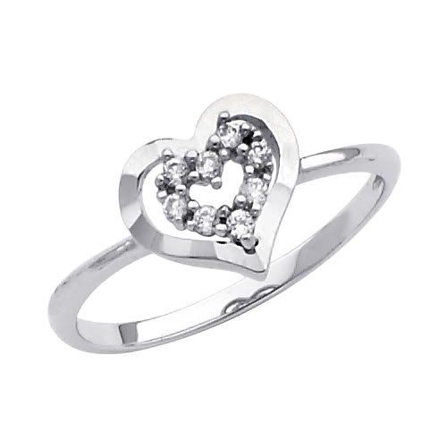 14K White Gold Heart Solitaire CZ Cubic Zirconia Promise Ring Band - Size 4.5