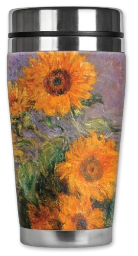 Mugzie 16-Ounce Stainless Steel Travel Mug Tumbler With Insulated Wetsuit Cover - Monet: Sunflowers