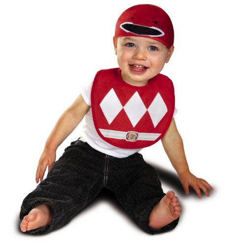 Disguise Baby Power Rangers Mighty Morphin Red Ranger Infant Bib and Hat Costume - 1