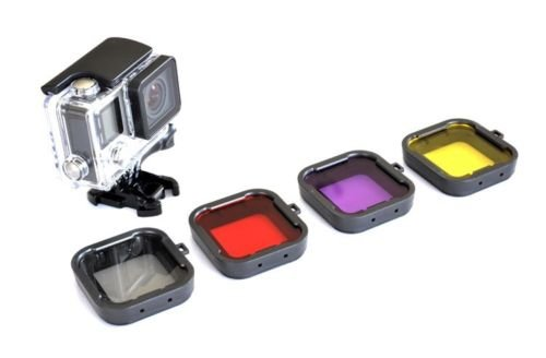 4pcs In 1 Snap On Diving Lens Filter Grey+Red+Purple+Yellow For Gopro HERO 3+ 4 Camera Housing Case Underwater...