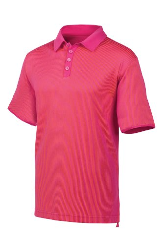Fila Golf Men's Montpellier Striped Polo Shirt (Large, Shocking Pink)