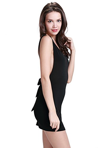 RichCoco Womens Sexy Halter Deep V Sleeveless Bakcless Fashion Dress