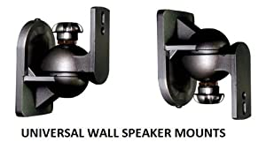 EZ Mounts -(1 Pair) Universal satellite surround sound speaker mounts / Brackets / Stands Max weight 7.5 lbs - Fits rear mounting speakers such as Bose, Yamaha, Samsung, Sony, Vizio, Phillips, LG, JBL, Onkyo, Pioneer, Polk, Logitech, Cinemate, Lifestyle &