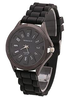 buy Fashion Unisex Men Women Boy Girl Analog Wrist Watch Quartz Silicone Rubber Band-Black