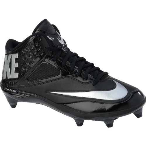 Nike Men's Lunar Code Pro 3/4 D Football Cleats-Black/Metallic Silver/Antrct-10
