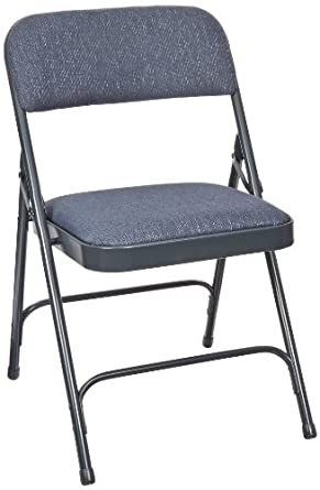 National Public Seating 2200 Series Steel Frame Upholstered Premium Fabric Seat and Back Folding Chair with Double Brace, 480 lbs Capacity, Imperial Blue/Char-Blue (Carton of 4)