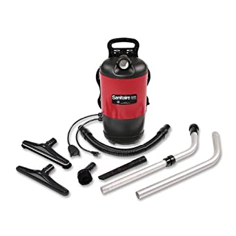 """Sanitaire EUKSC412A Quiet Clean Backpack Lightweight Vacuum, 11.5 Amps Power, 21"""" Length x 10-1/2"""" Width x 10-1/2"""" Height, Black/Red"""