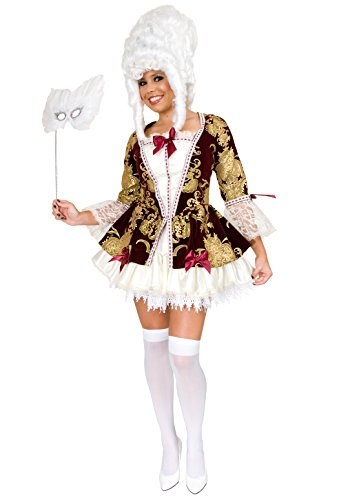 Womens Burgundy & Gold Marie Antoinette Pirate Lady Costume X-Large
