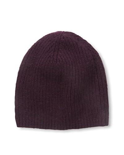 Portolano Men's Cashmere Hat Needle Ribbed Beanie, Black Currant