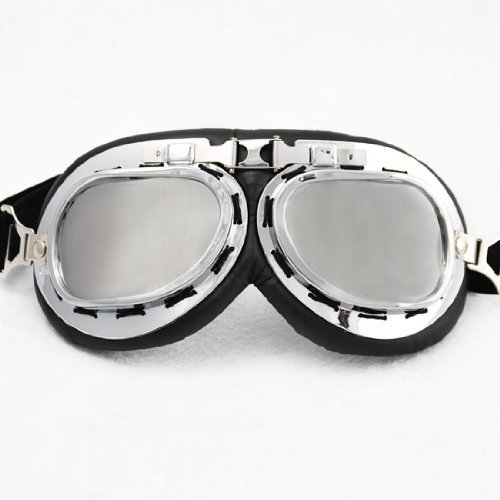 WWII RAF German Military Army Aviator Retro Style Mirror Lenses Chrome Frame Sun UV Wind Eye Protect Goggles Outdoor Camping Sledding Skating Scout Hiking Motorcycle Fashion Biker Gear
