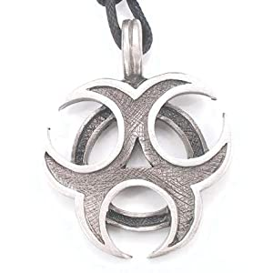 biohazard danger silver tone pewter pendant necklace