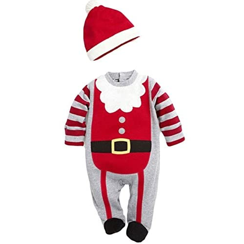Baby Boys Girls Christmas Santa Claus Long Sleeve Romper and Hat Outfit (70(0-6M), Boys)