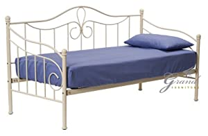 Lisbon Cream Metal Day Bed French Style 3ft Single Guest