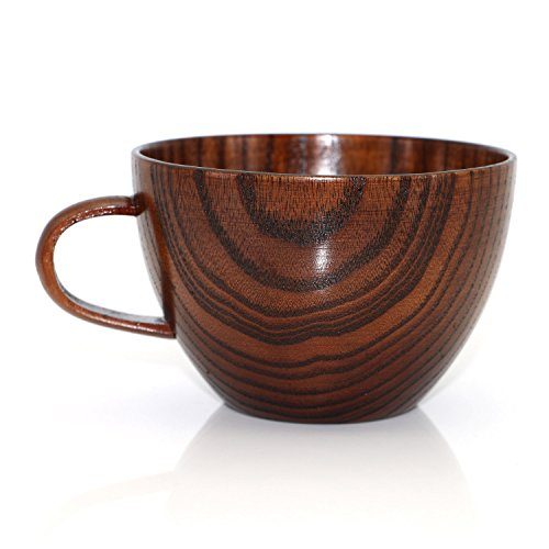 Geeklife Natural Jujube Wood Big Coffee Mugs,Japanese Wood Soup Bowls,Handcraft Beer Mugs with Handle,Scald-proof,Safe and Eco-friendly,400 ml (Brown) (Coffee Japanese compare prices)